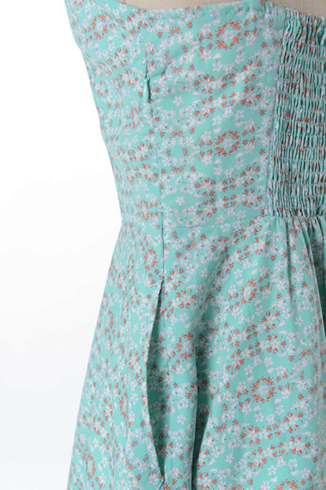 Comme Toi Minty Floral Dress - Back Cropped Image