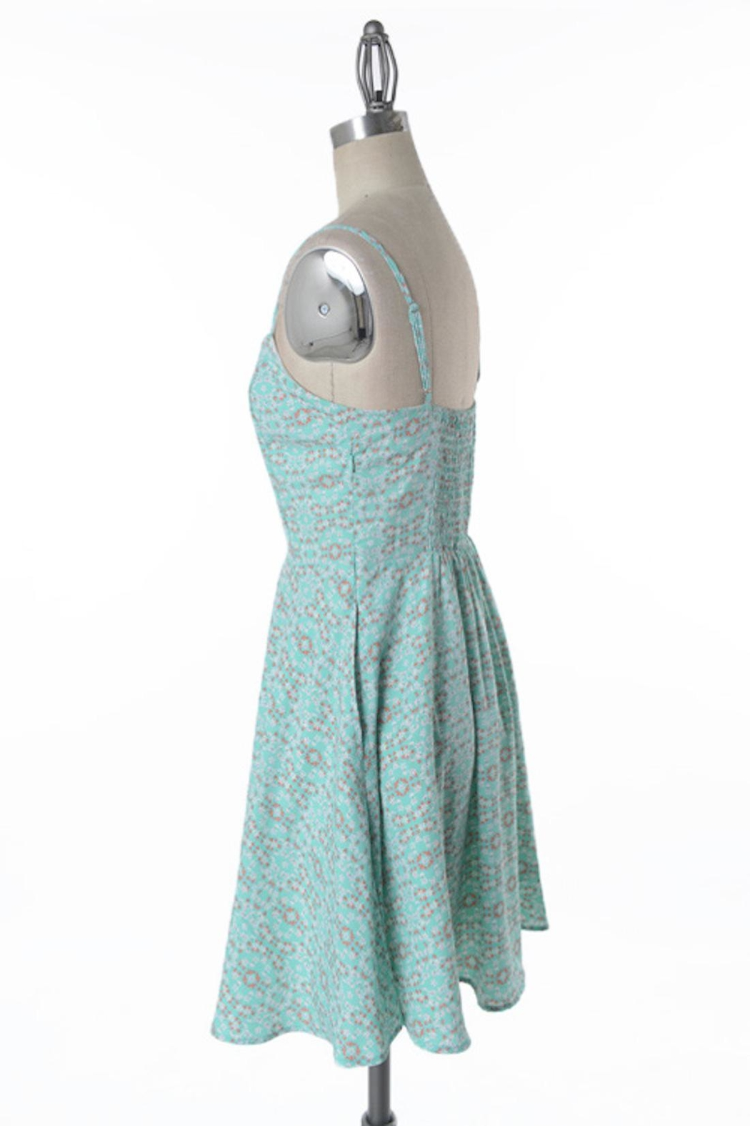 Comme Toi Minty Floral Dress - Front Full Image