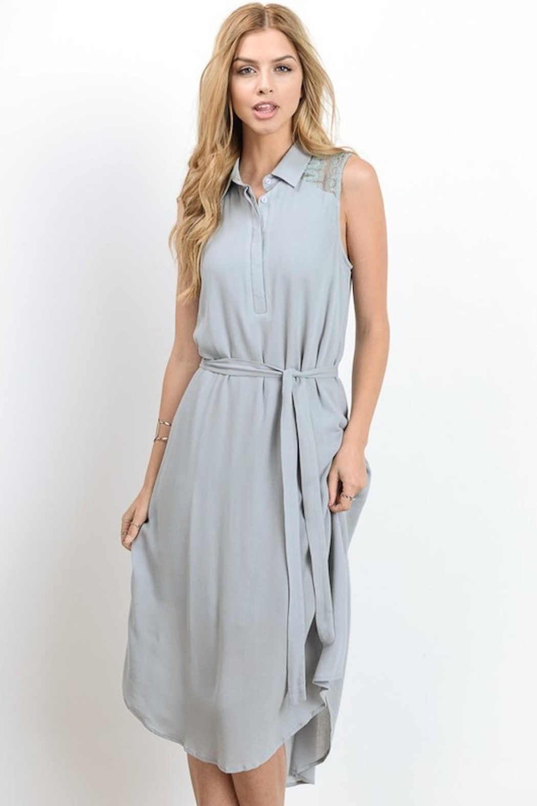 Doe & Rae Minty Gray Dress - Front Cropped Image
