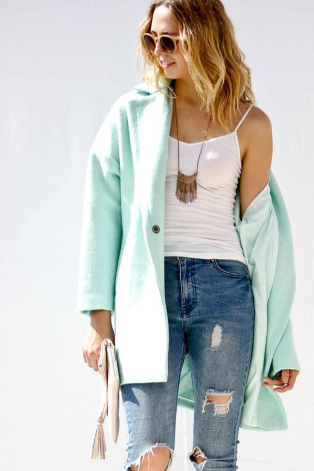 Event Minty Wool Coat - Back Cropped Image