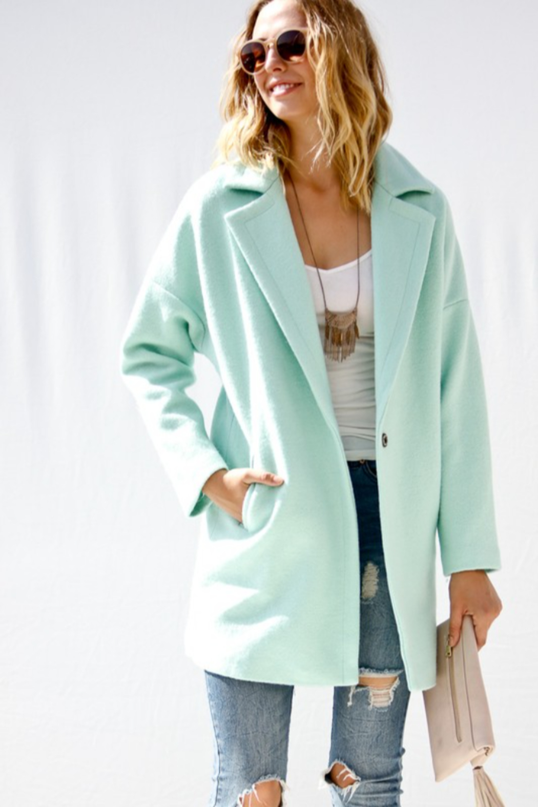 Event Minty Wool Coat - Side Cropped Image