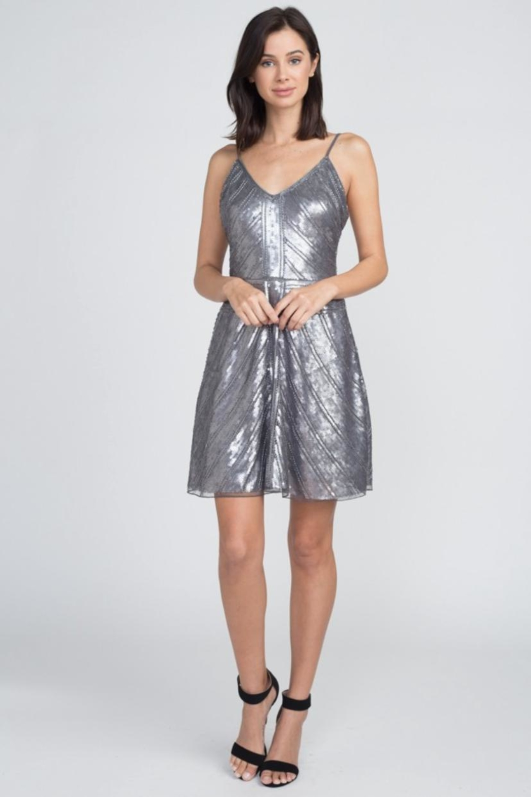 Minuet Chevron Sequin Dress - Front Cropped Image