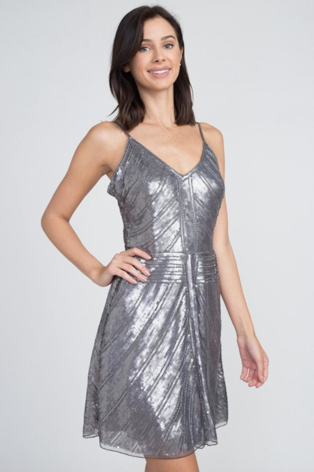 Minuet Chevron Sequin Dress - Side Cropped Image