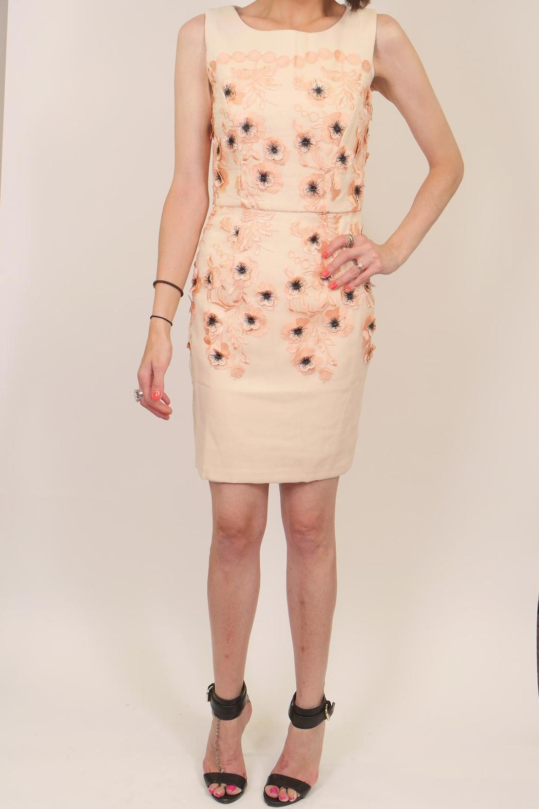 Minuet Peach Floral Dress - Front Full Image