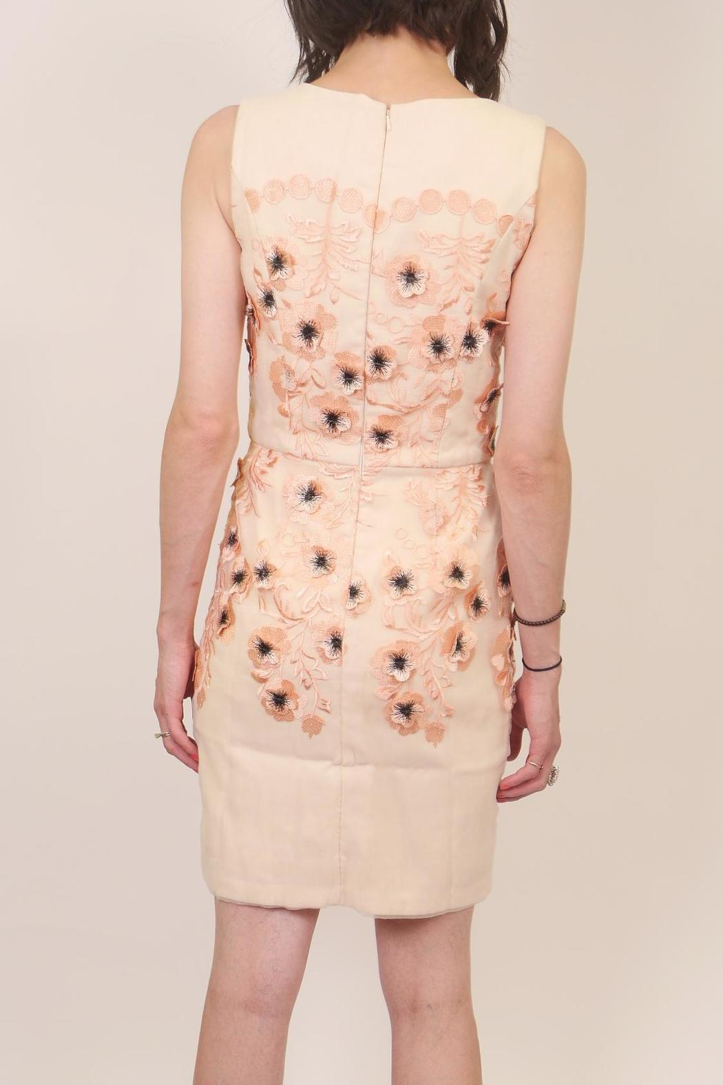Minuet Peach Floral Dress - Back Cropped Image