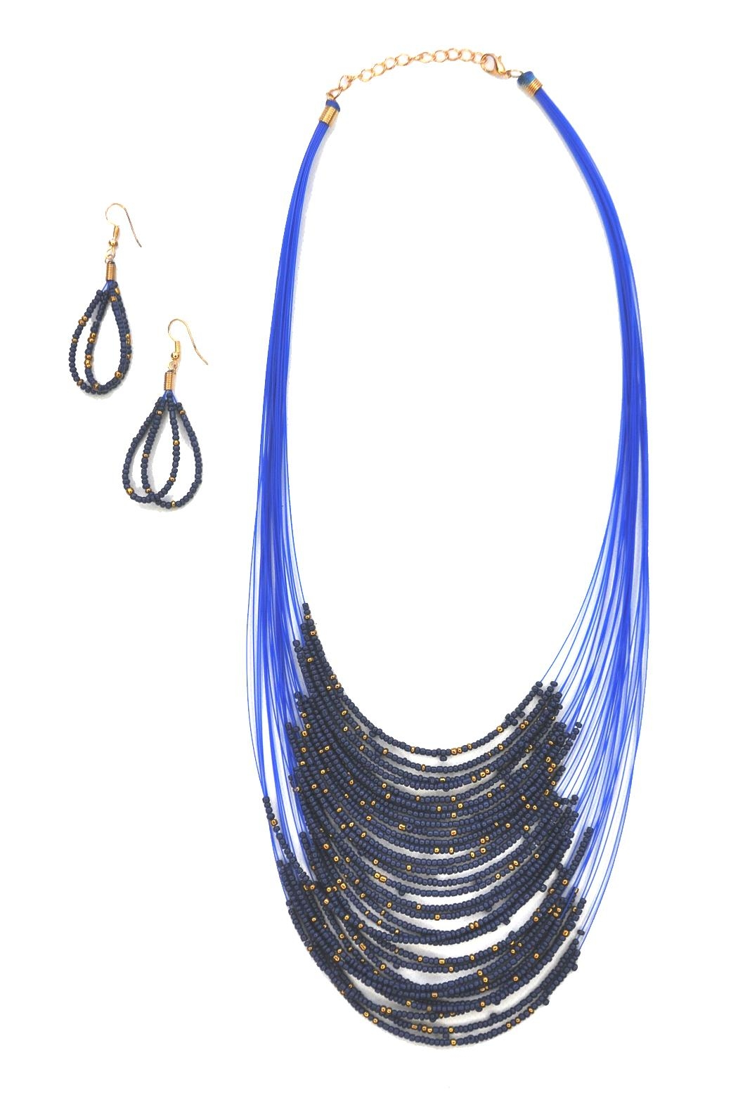 Minx Beaded Bib Necklace - Front Cropped Image