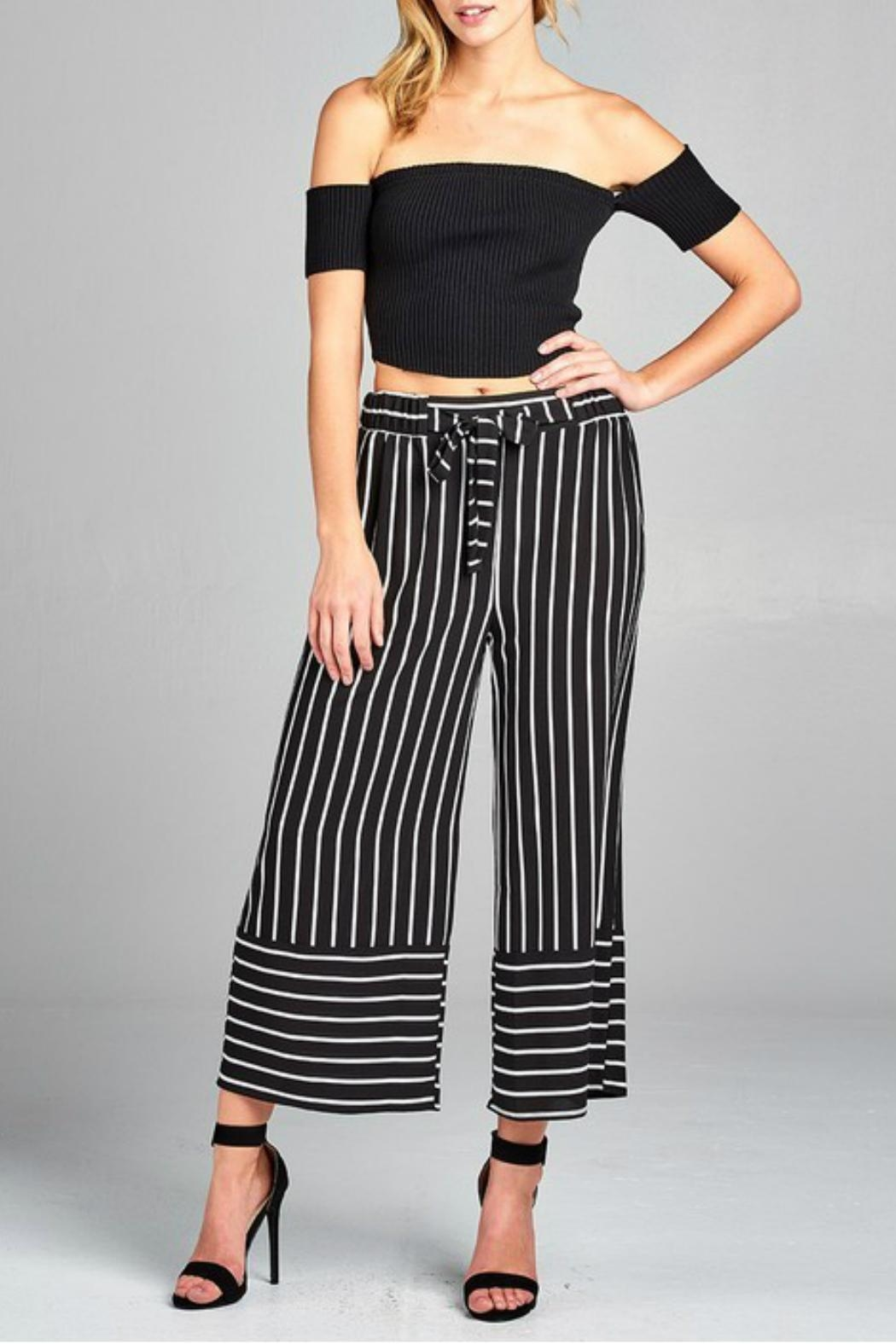 Minx Pinstriped Herring Trousers - Front Cropped Image