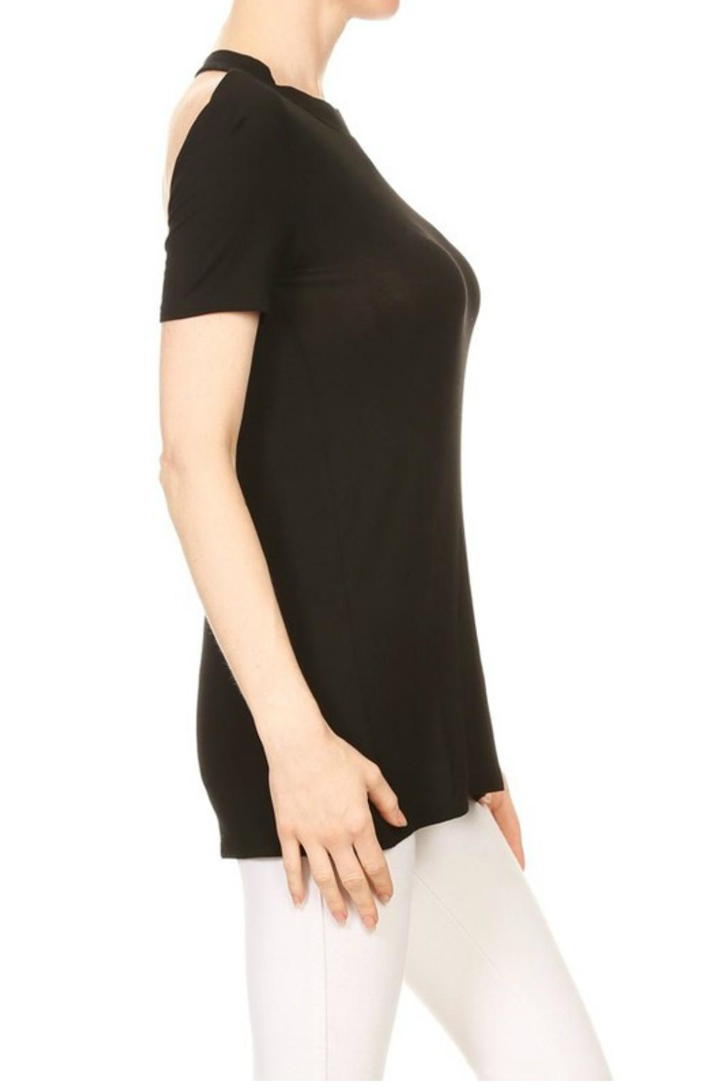 Minx Black Strapped Blouse - Side Cropped Image