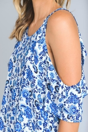 Minx Blue Floral Blouse - Front full body