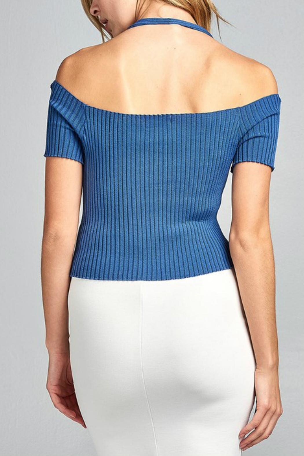 Minx Blue Ribbed Top - Front Full Image