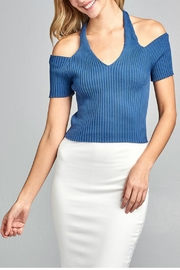 Minx Blue Ribbed Top - Front cropped