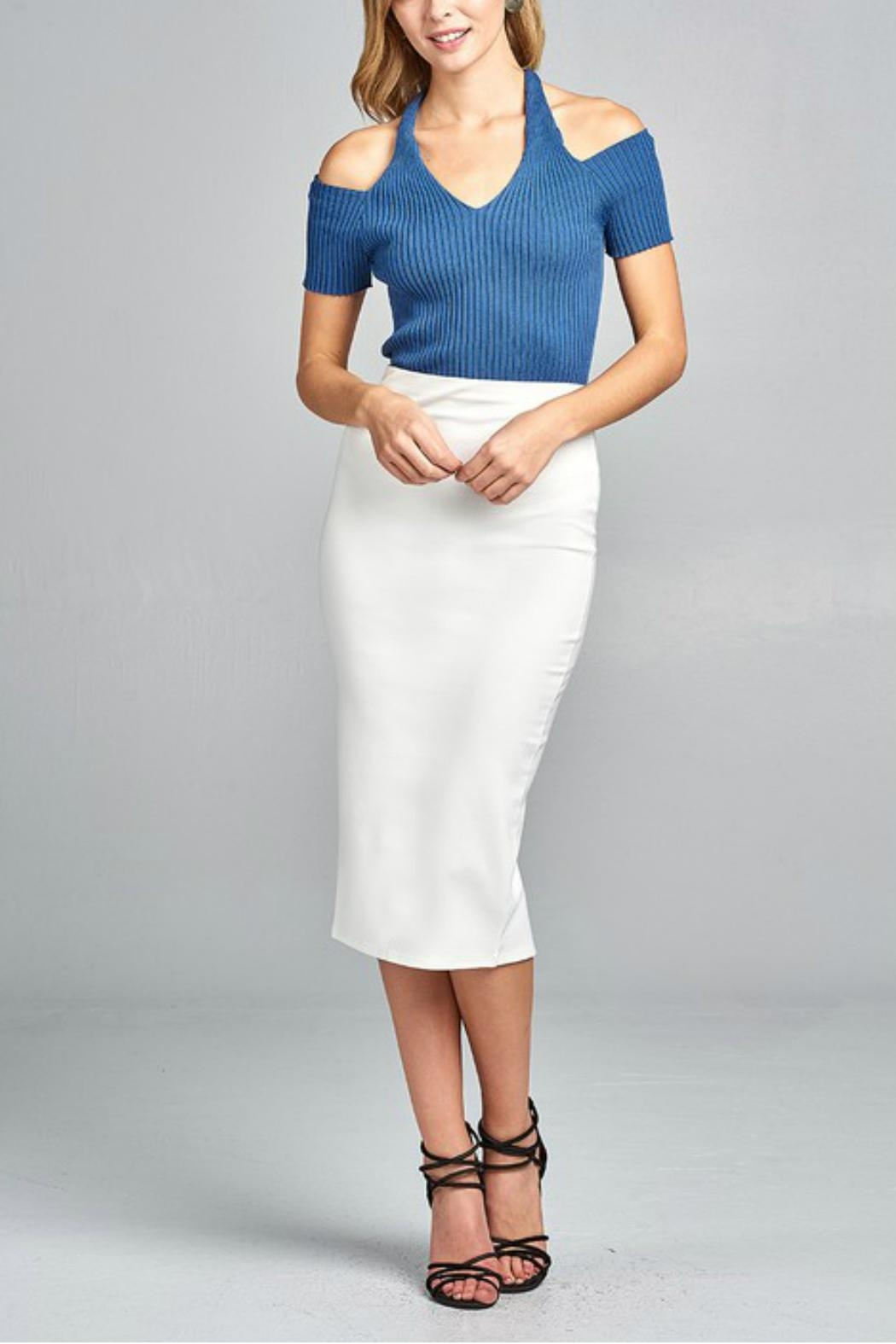 Minx Blue Ribbed Top - Side Cropped Image