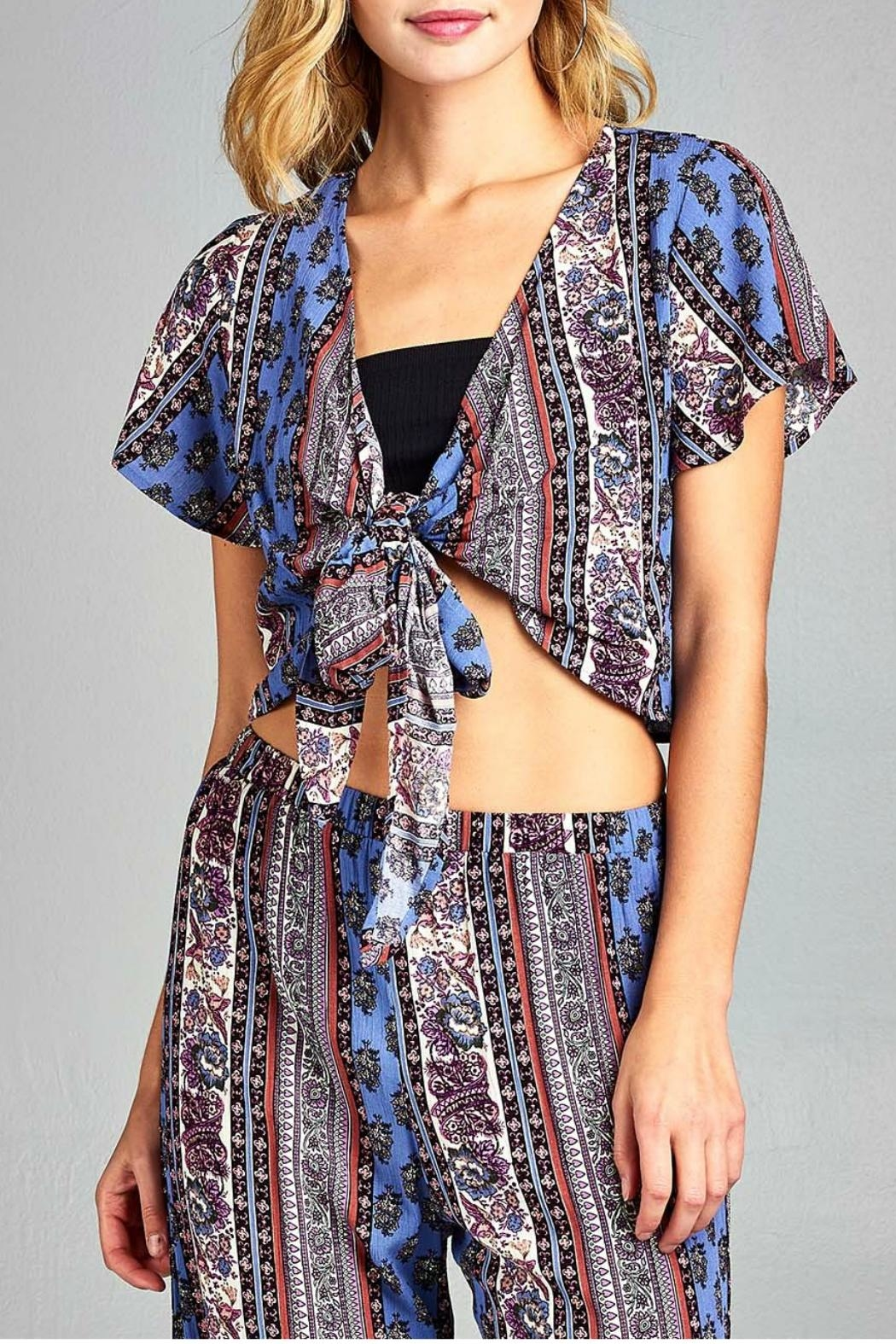 Minx Boho Tie Top - Front Cropped Image