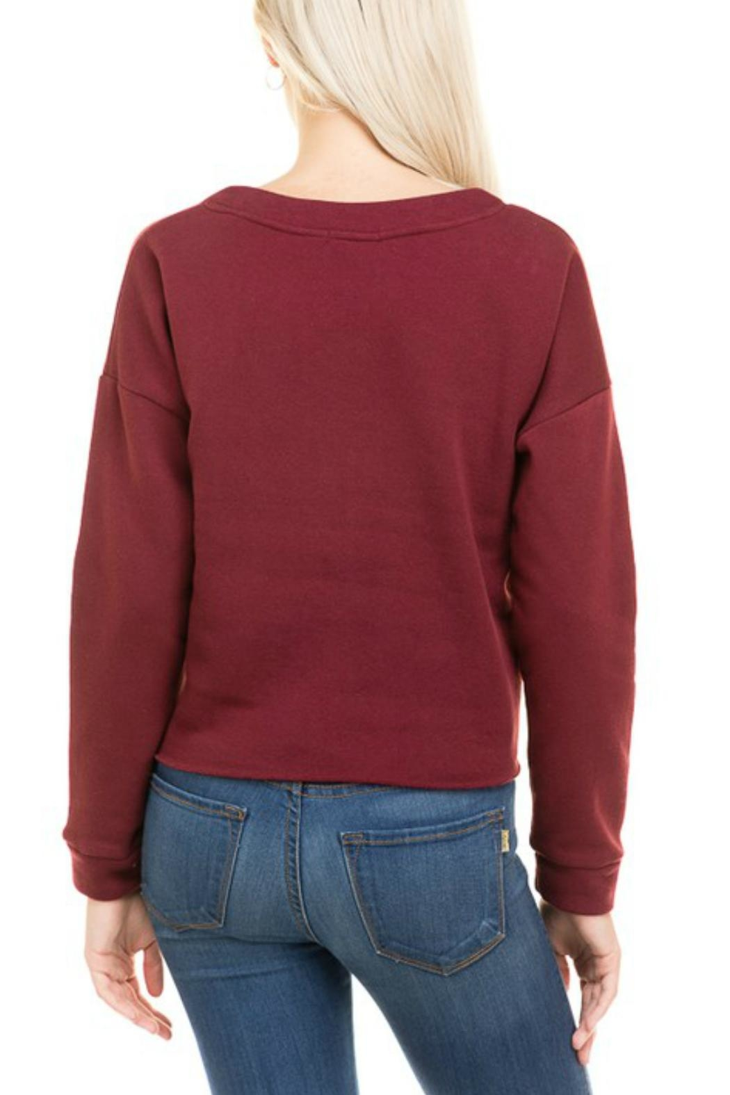 Minx Burgundy Laceup Sweater - Side Cropped Image