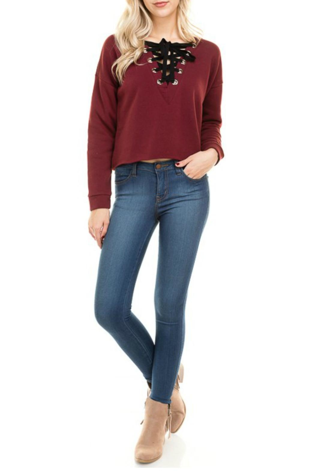 Minx Burgundy Laceup Sweater - Front Full Image