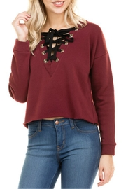 Minx Burgundy Laceup Sweater - Front cropped