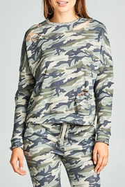 Minx Camouflage Distressed Sweater - Product Mini Image