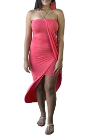 Minx Coral Drape Dress - Product Mini Image