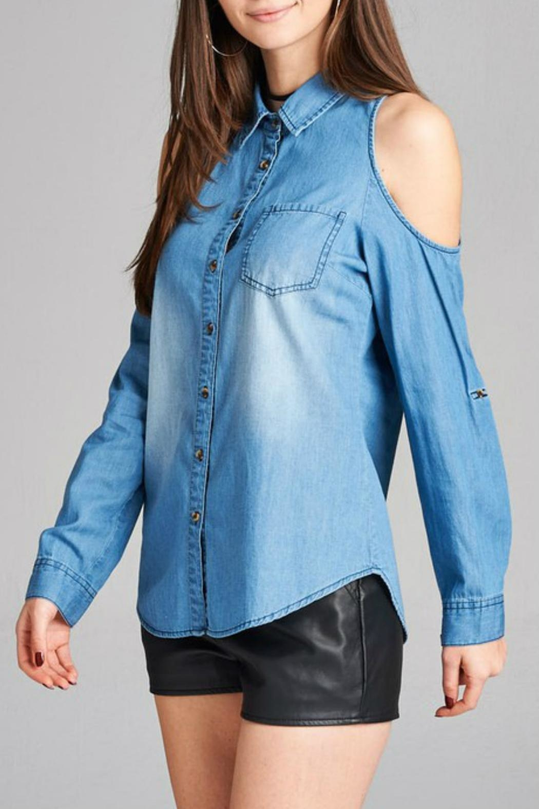 Minx Denim Cold Shoulder - Front Full Image