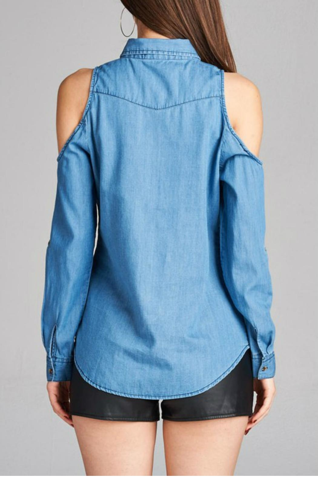 Minx Denim Cold Shoulder - Side Cropped Image
