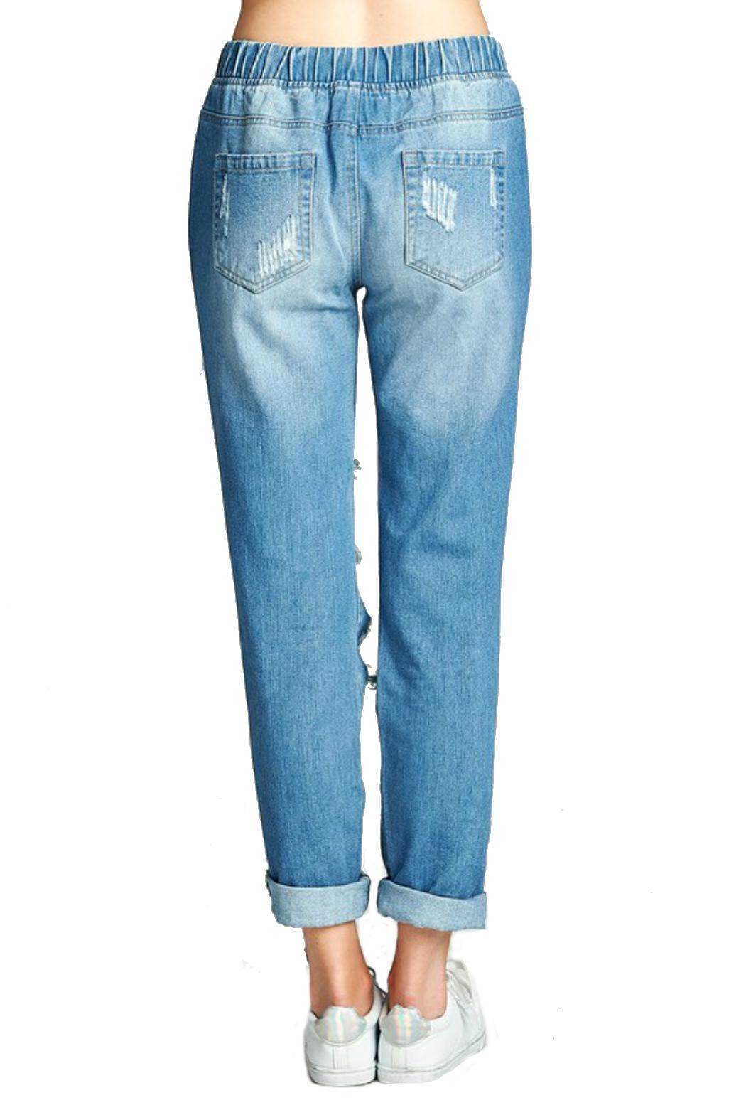Minx Distressed Denim Joggers - Back Cropped Image