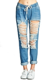 Minx Distressed Denim Joggers - Front full body