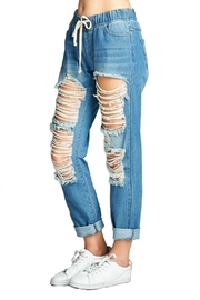 Minx Distressed Denim Joggers - Side cropped