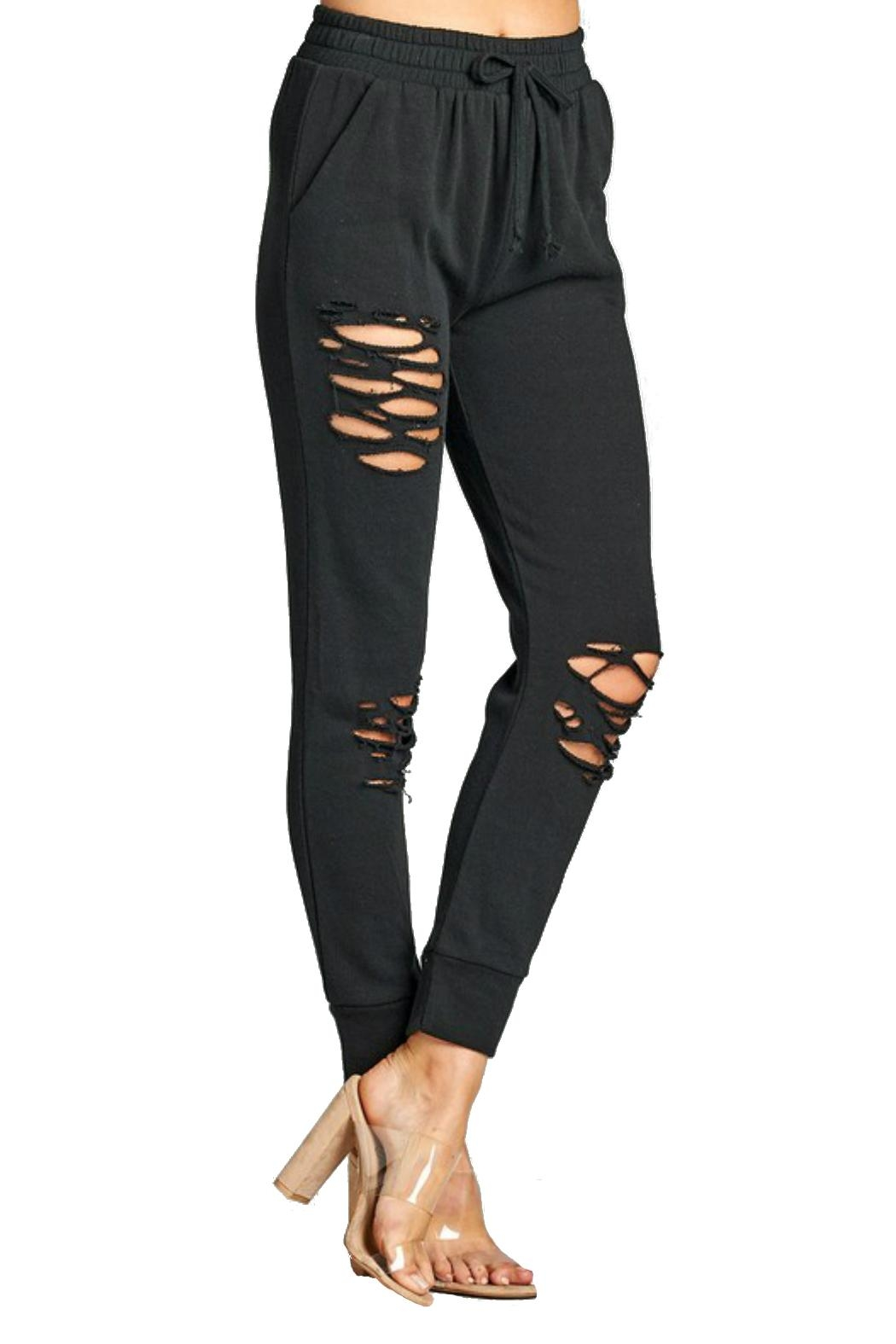 Minx Distressed Jogger Pants - Front Cropped Image