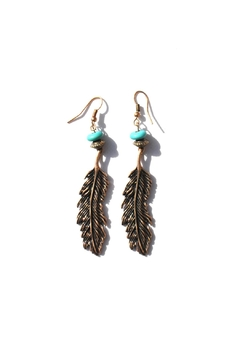 Shoptiques Product: Drop Feather Earrings