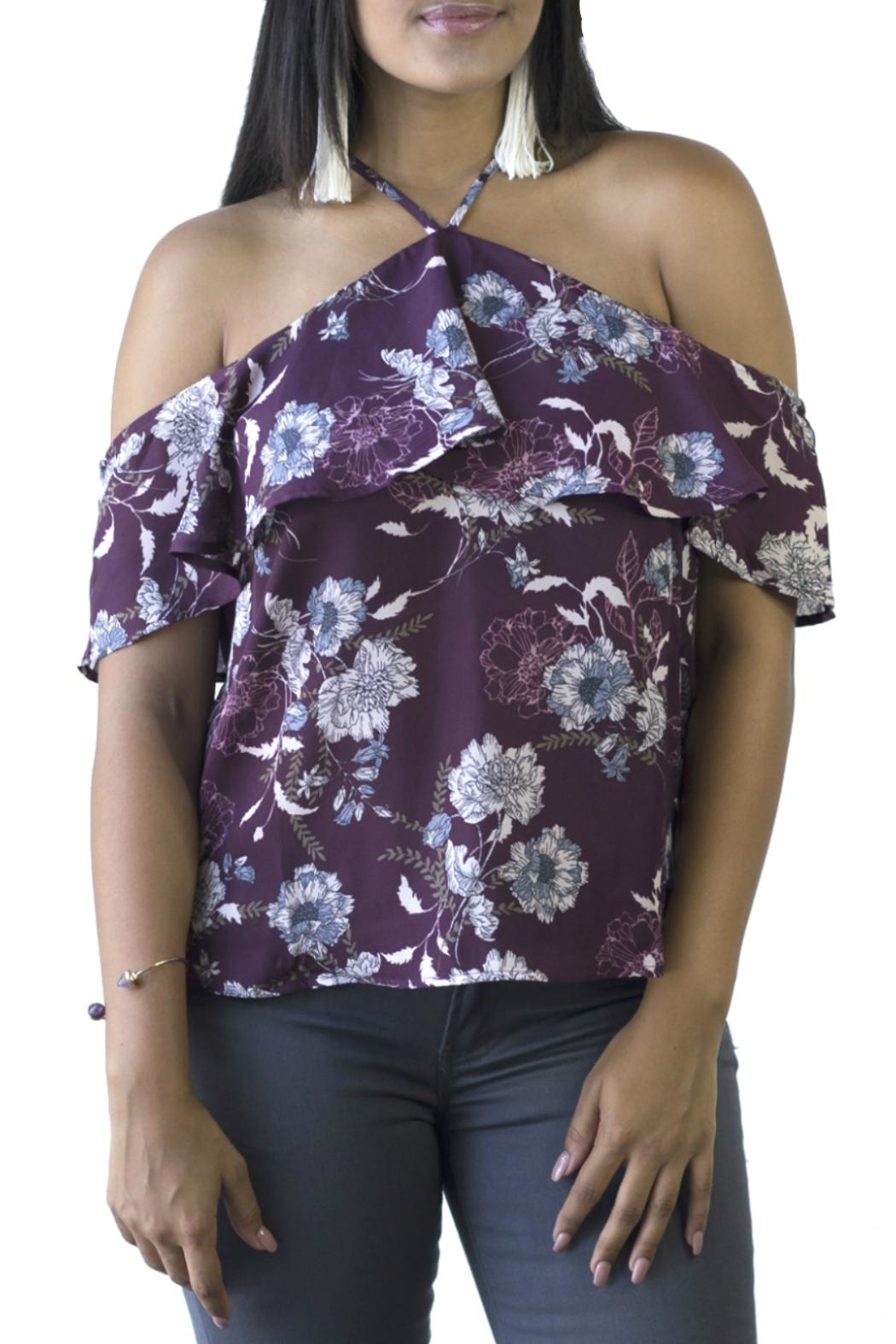 Minx Floral Shoulder Blouse - Front Cropped Image