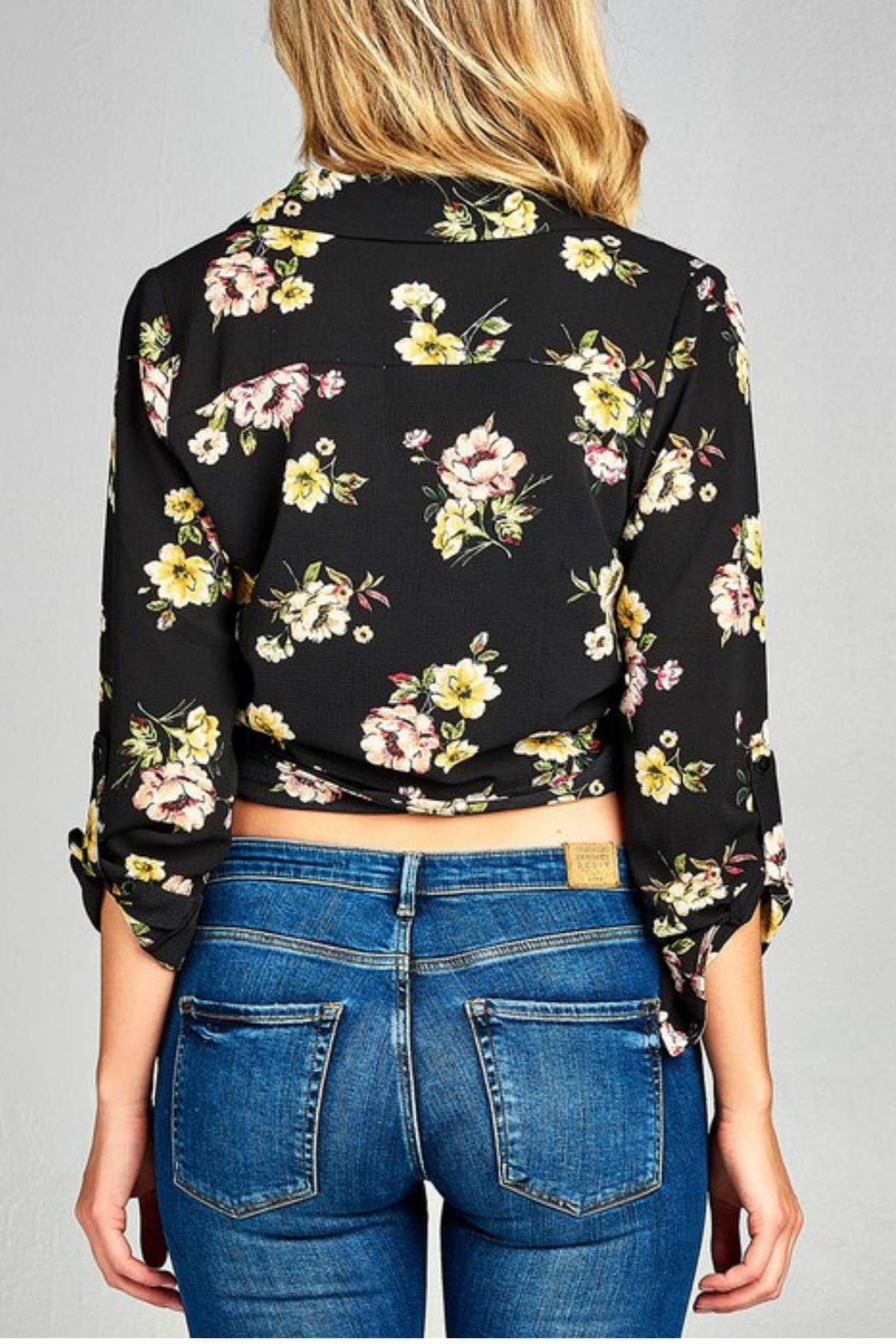 Minx Floral Wrap Blouse - Back Cropped Image