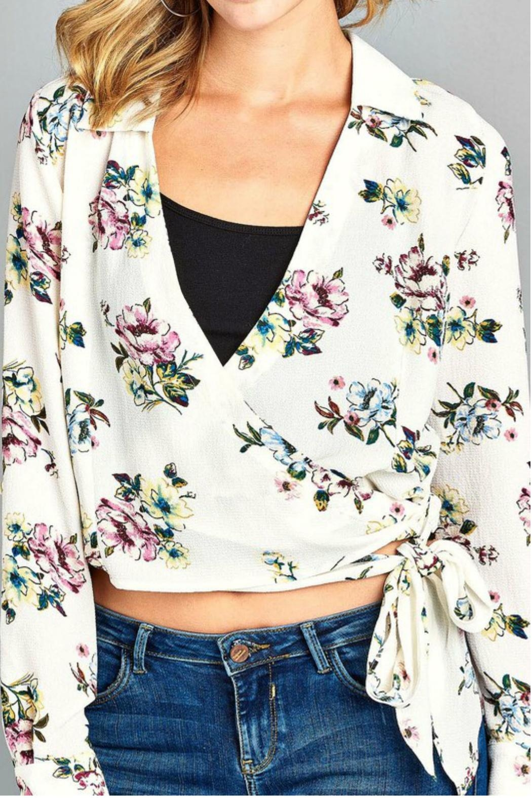Minx Floral Wrap Blouse - Side Cropped Image