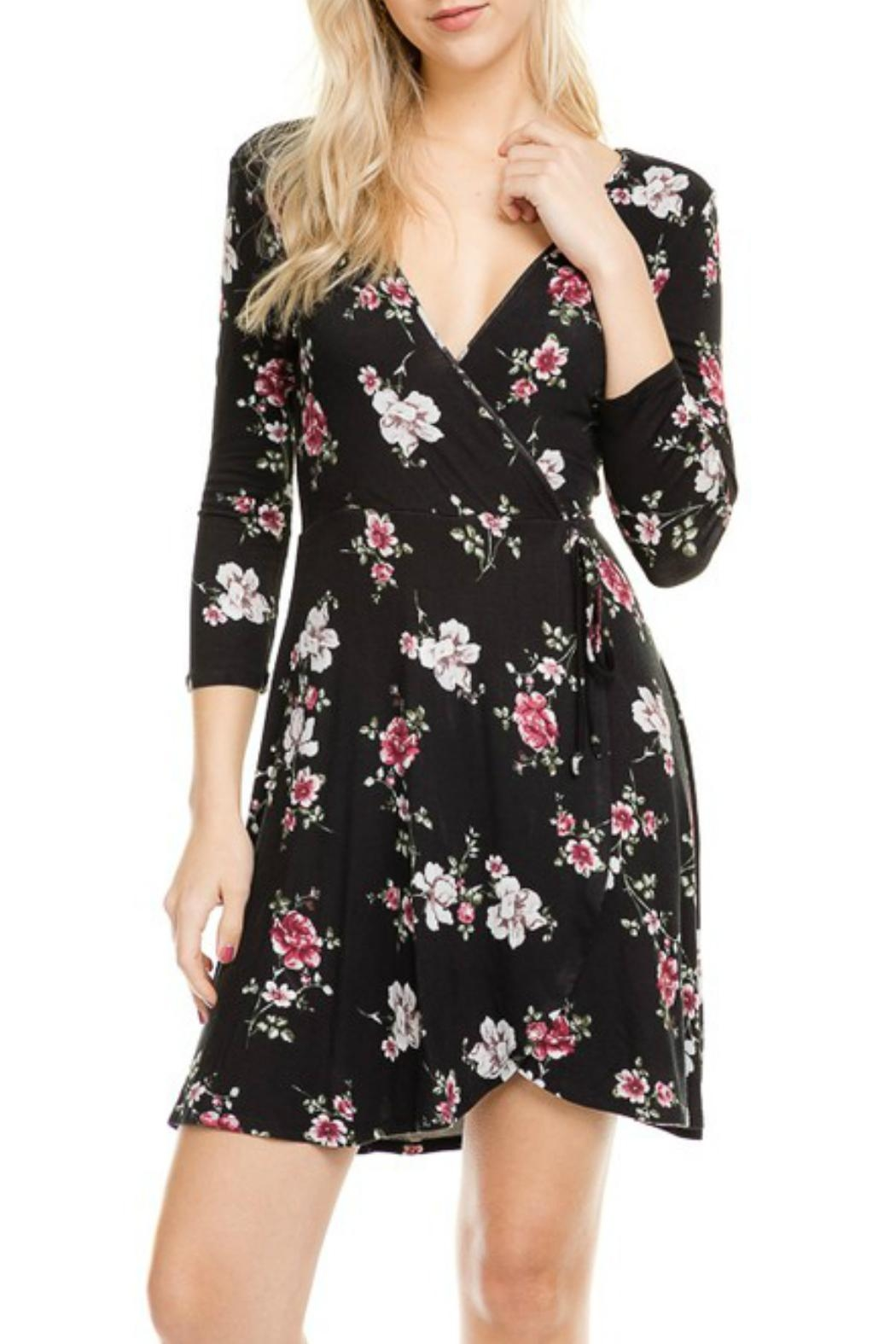 Minx Floral Wrap Dress - Front Cropped Image