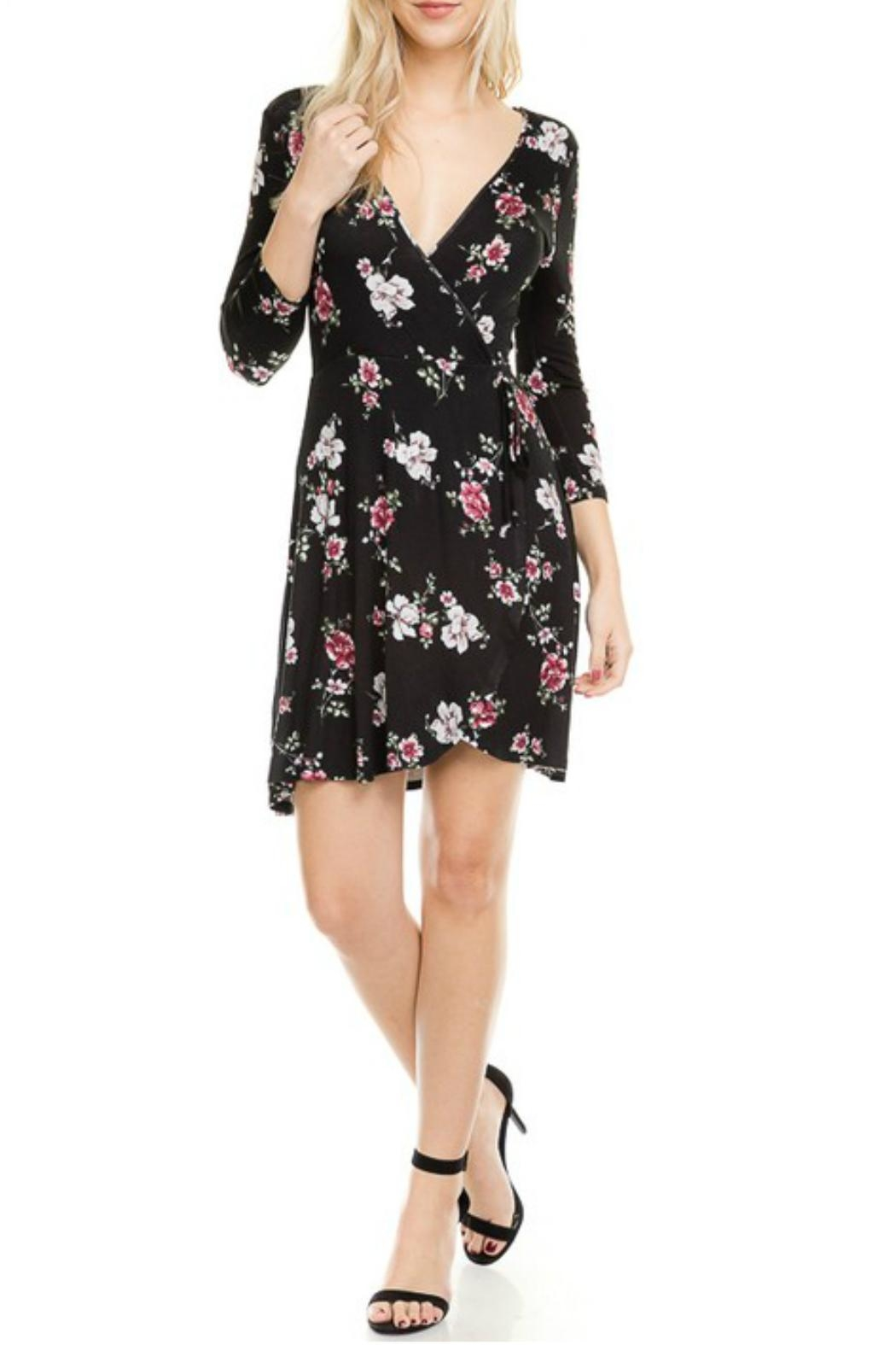 Minx Floral Wrap Dress - Front Full Image