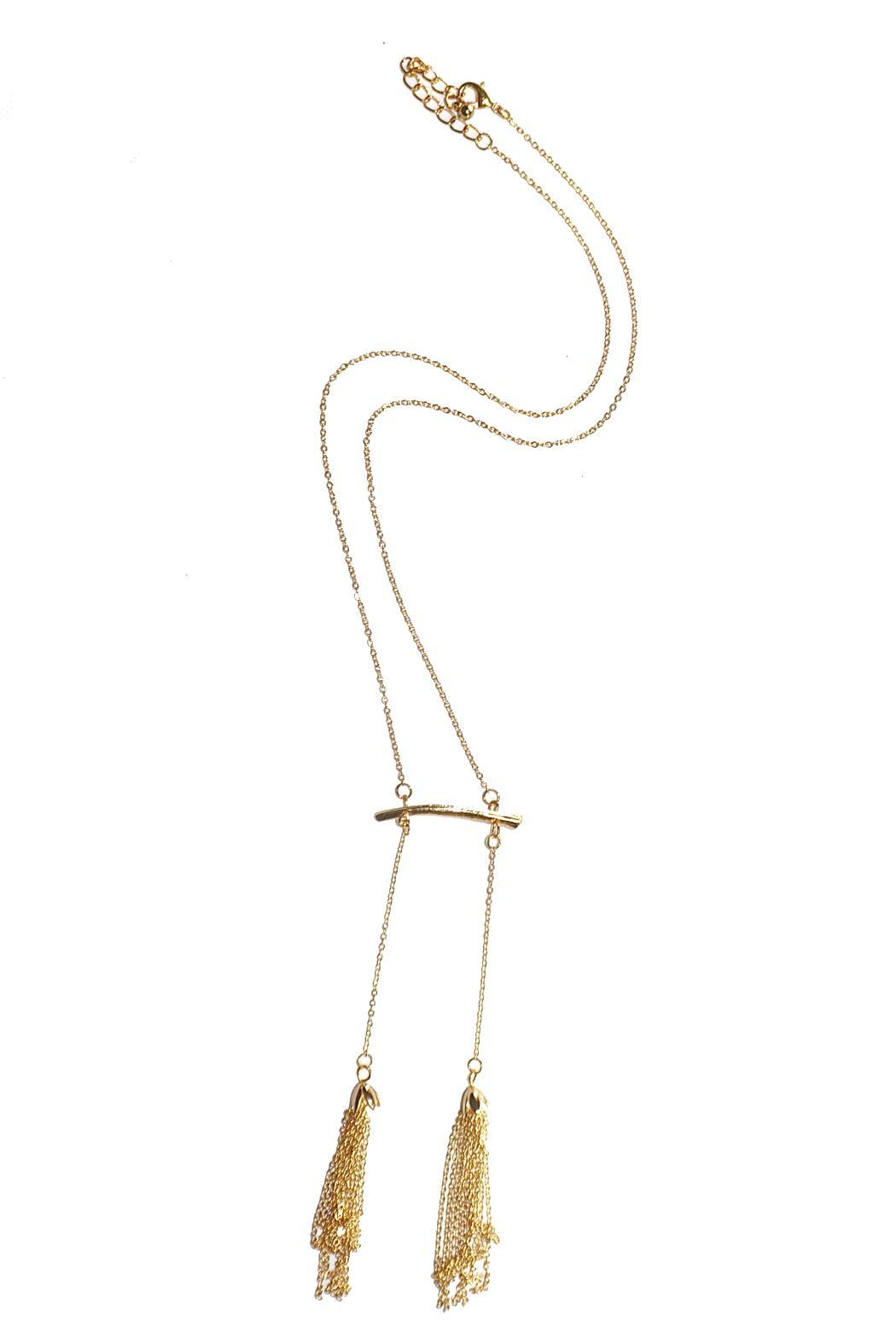 Minx Gold Tassel Necklace - Front Cropped Image