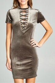 Minx Grey Lace Up Dress - Front cropped