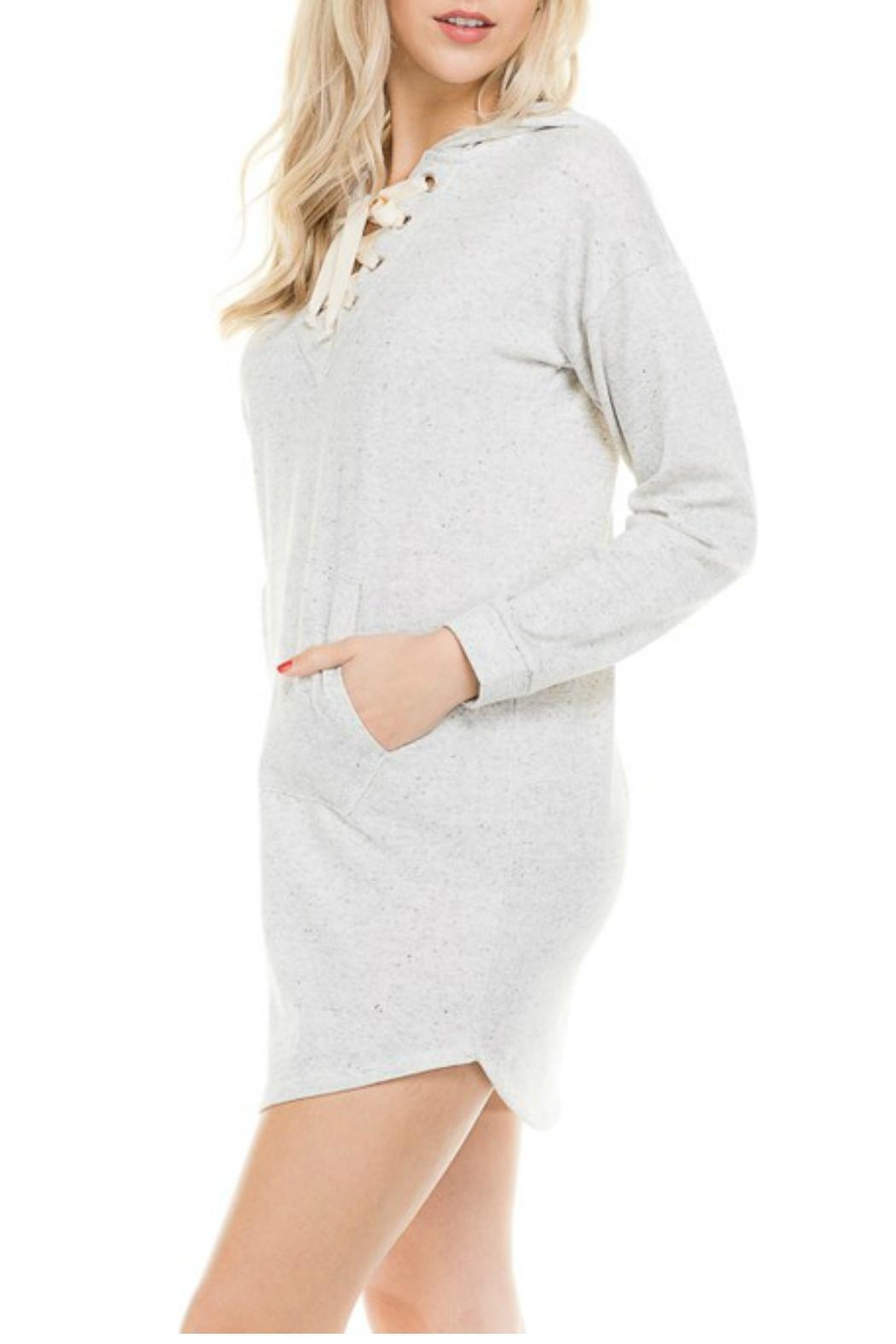 Minx Hooded Terry Dress - Front Full Image