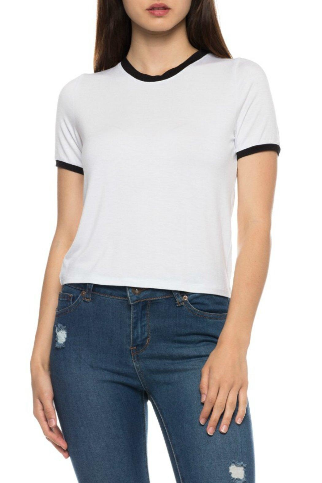 Minx White Contrast Tee - Front Full Image