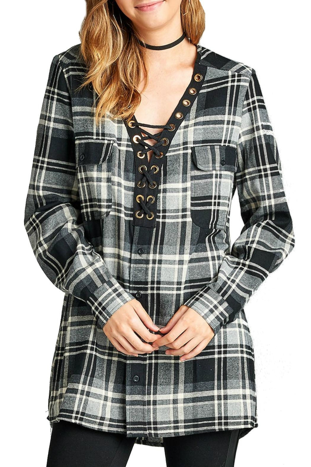 Minx Laceup Plaid Flannel - Front Cropped Image