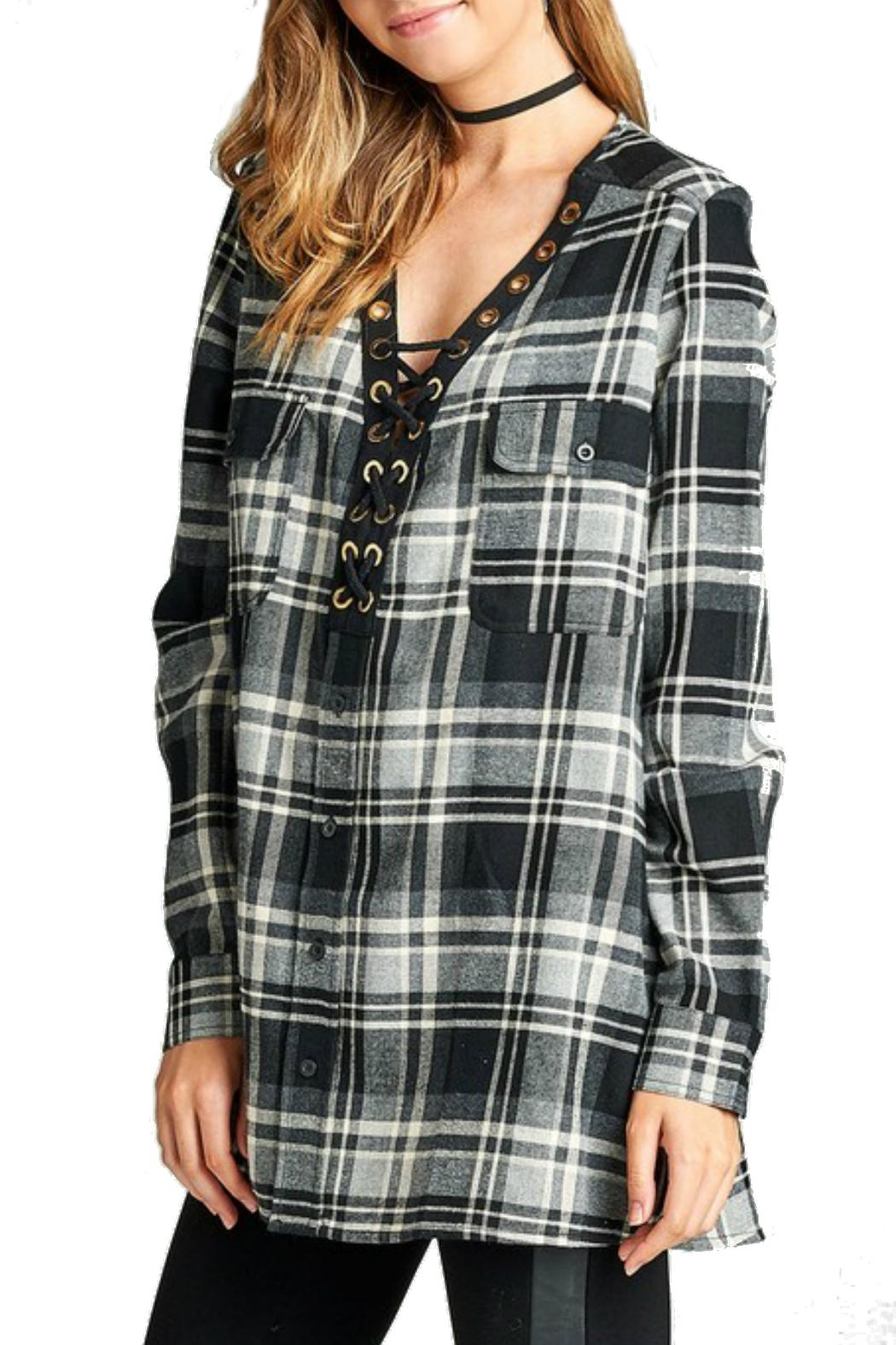 Minx Laceup Plaid Flannel - Front Full Image