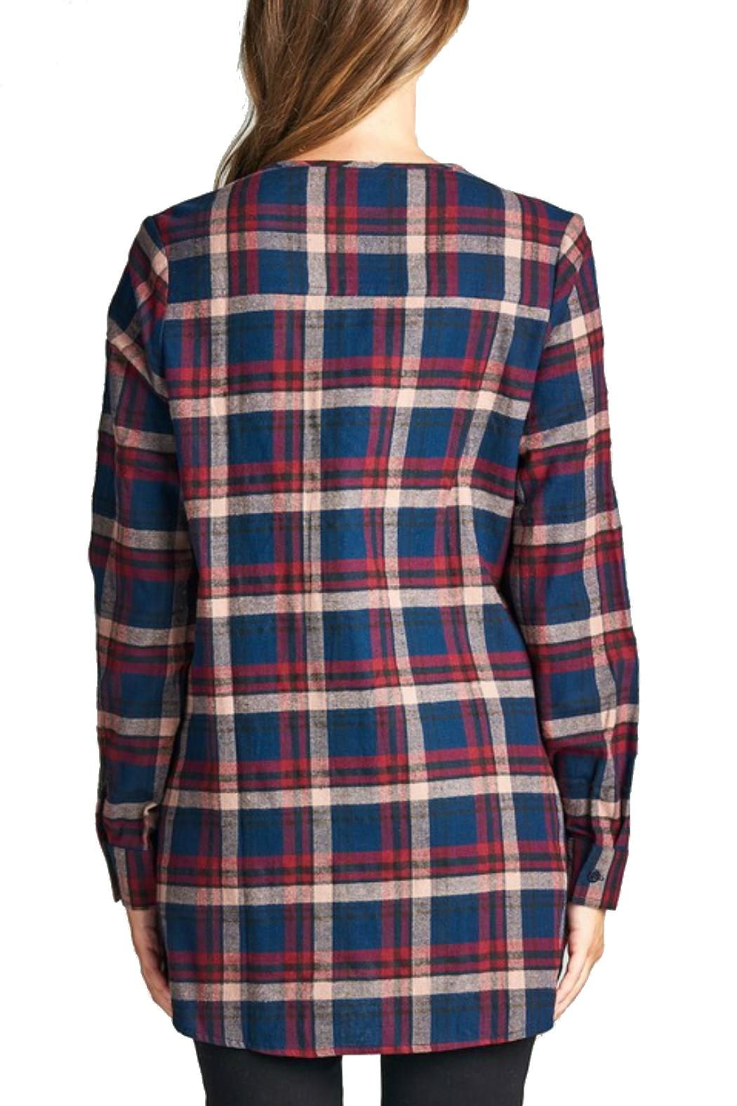 Minx Laceup Plaid Flannel - Back Cropped Image