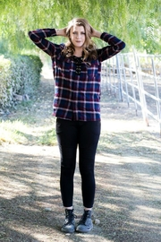 Minx Laceup Plaid Flannel - Front cropped