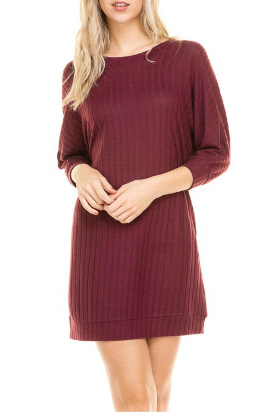 Minx Merlot Sweater Dress - Front Cropped Image