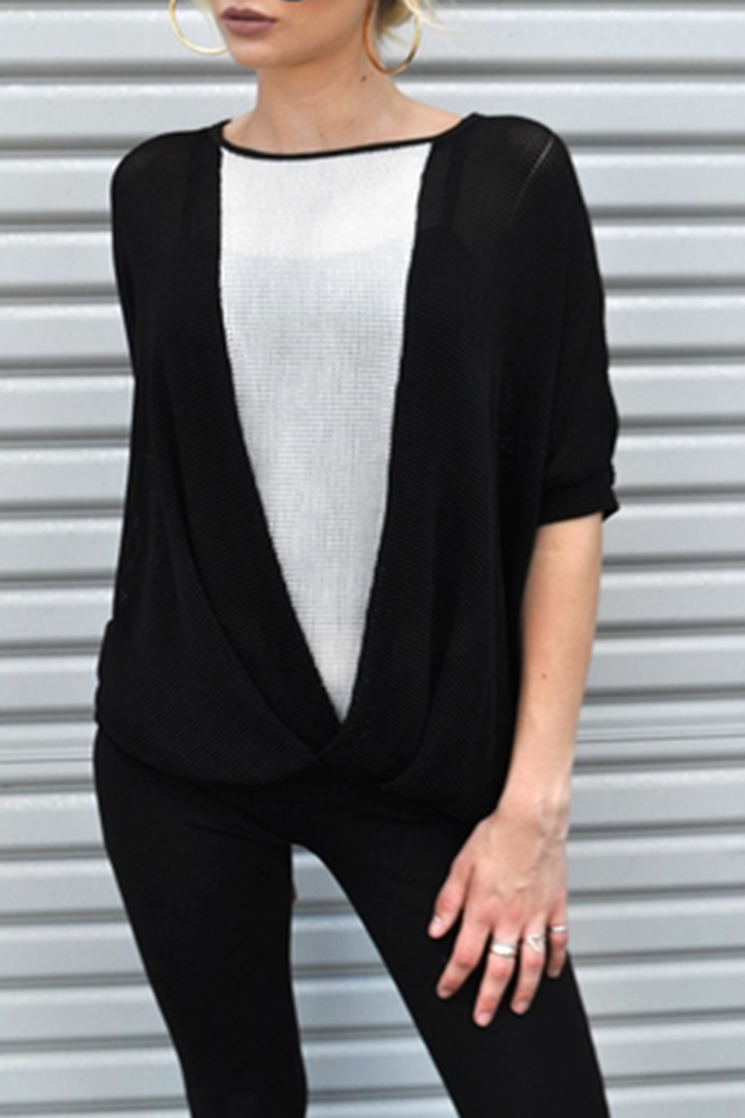 Minx Mesh Crossover Blouse - Front Cropped Image
