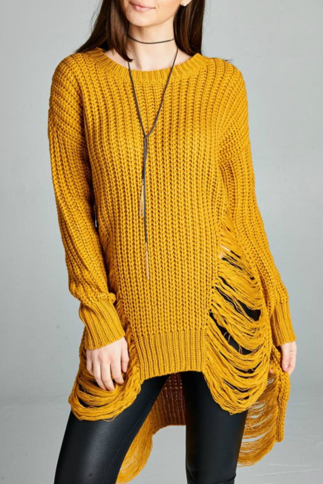 Minx Mustard Sweater Dress - Front Full Image