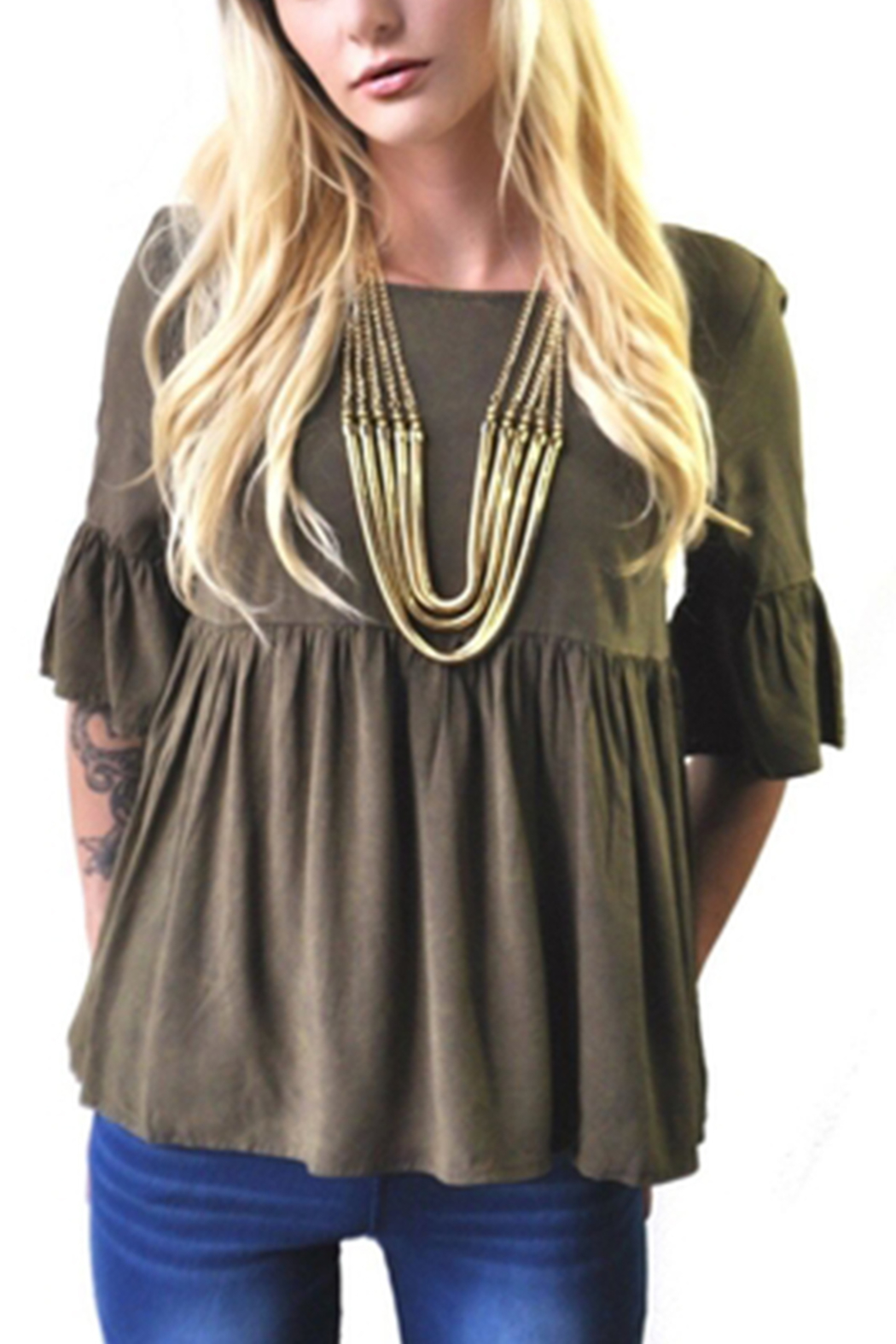 Minx Olive Babydoll Blouse - Front Cropped Image