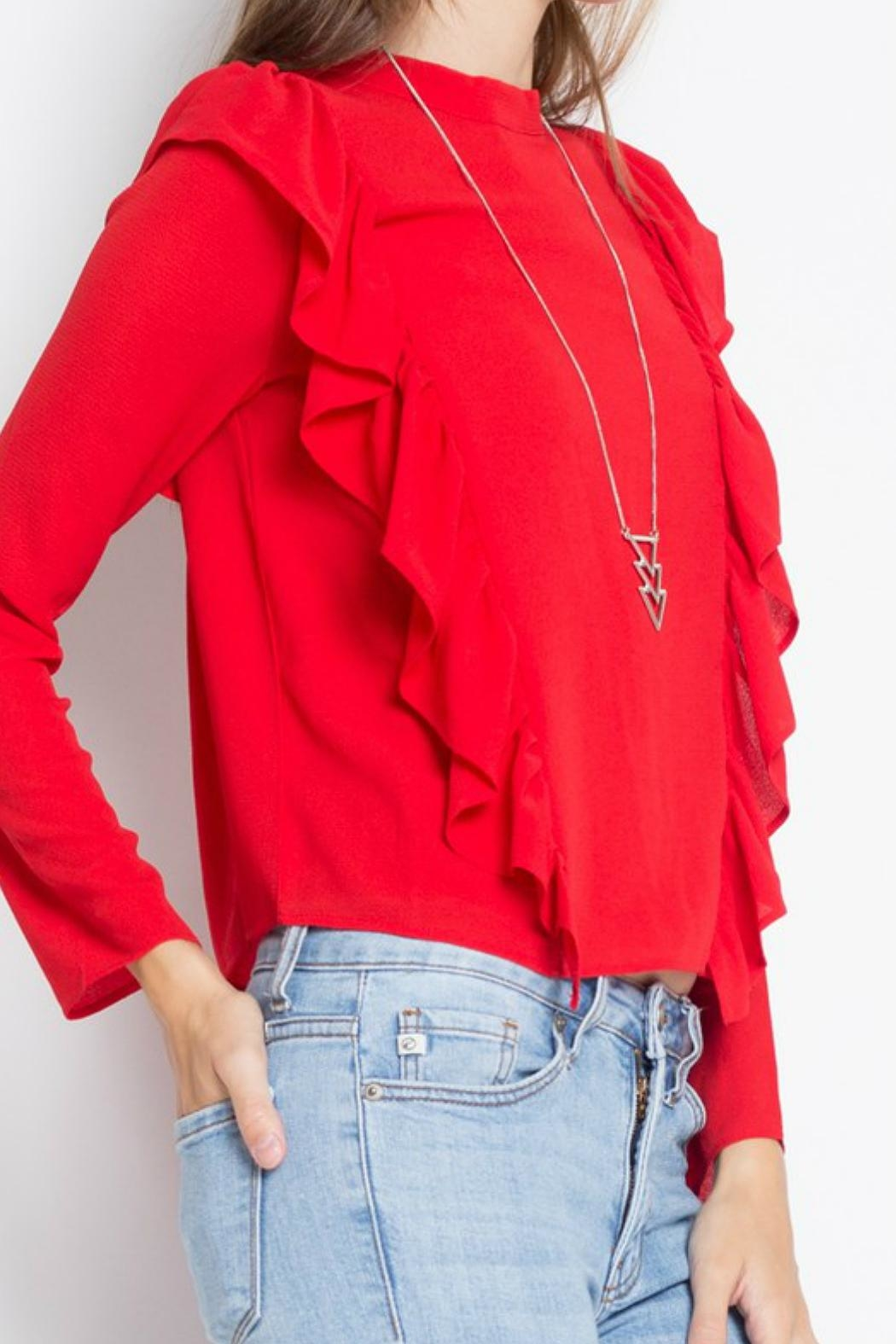 Minx Red Ruffle Blouse - Front Full Image