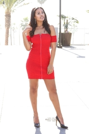 Minx Red Zip Dress - Product Mini Image