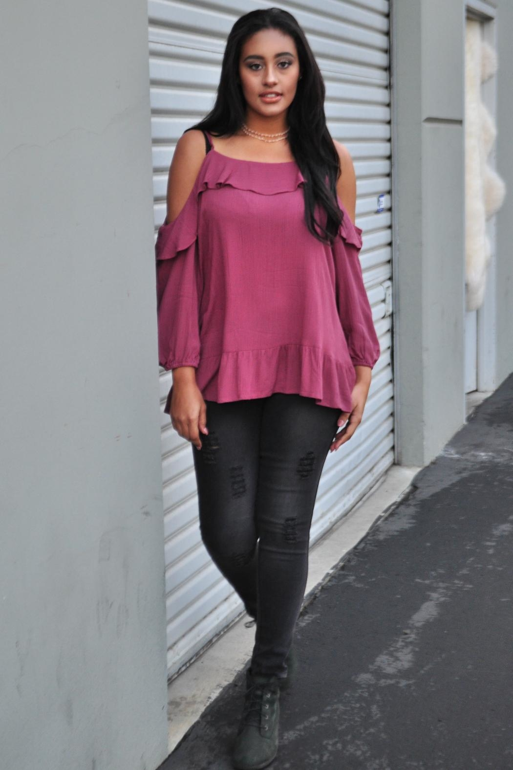Minx Berry Ruffle Blouse - Side Cropped Image
