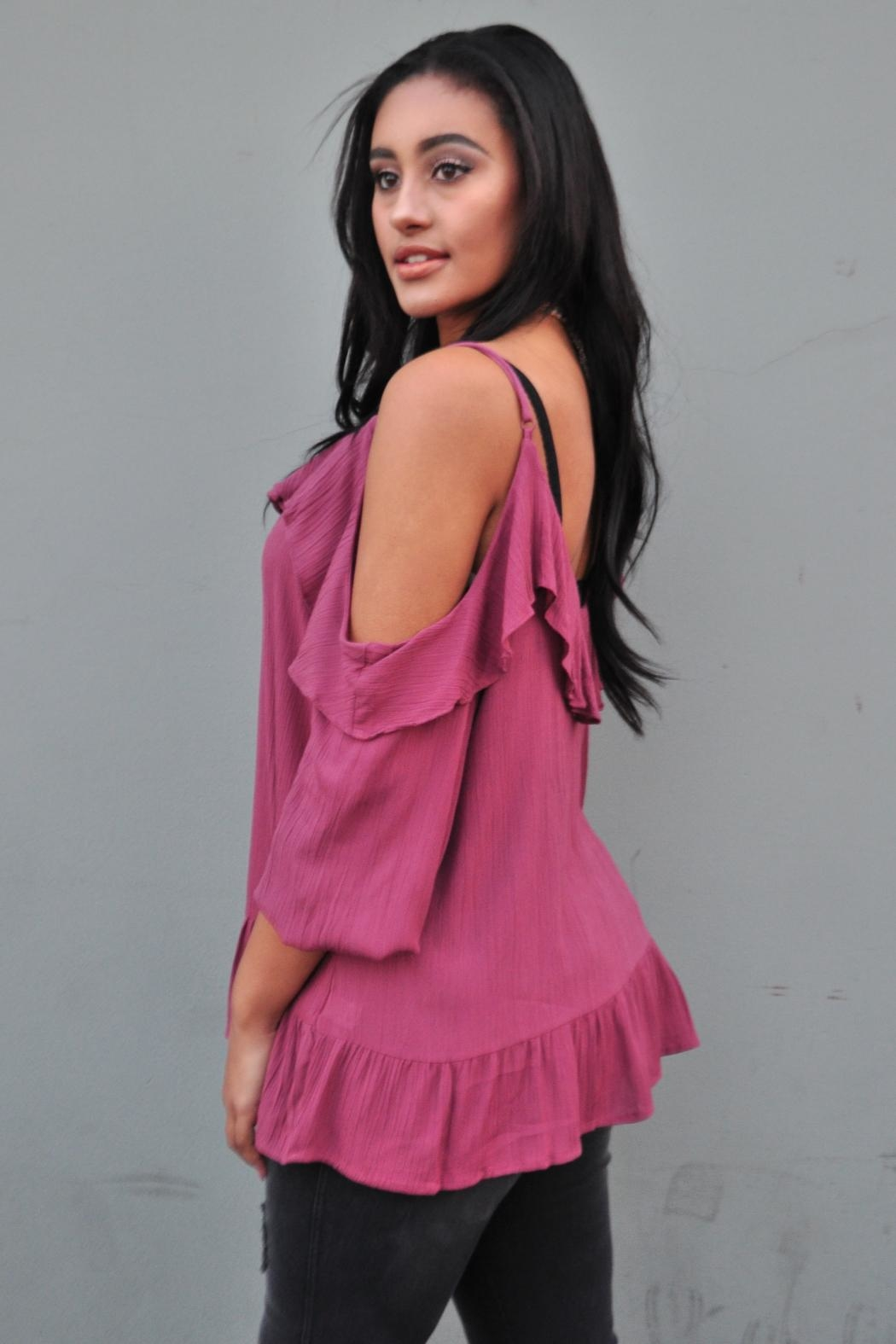 Minx Berry Ruffle Blouse - Front Full Image